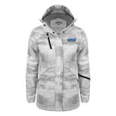 Ladies White Brushstroke Print Insulated Jacket-CSUSB Athletics