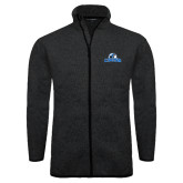 Black Heather Fleece Jacket-Primary Logo