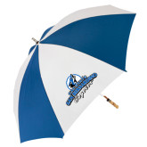62 Inch Royal/White Vented Umbrella-Secondary Logo