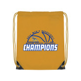 Nylon Gold Drawstring Backpack-2017 Western Athletic Conference Champions - Mens Basketball Half Ball