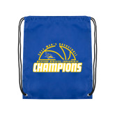 Nylon Royal Drawstring Backpack-2017 Western Athletic Conference Champions - Mens Basketball Half Ball