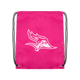 Nylon Pink Drawstring Backpack-Primary Logo