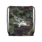 Nylon Camo Drawstring Backpack-Primary Logo