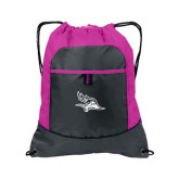 Nylon Pink Raspberry/Deep Smoke Pocket Drawstring Backpack-Primary Logo