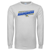 White Long Sleeve T Shirt-Slanted Roadrunners Stencil w/ Logo