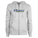 ENZA Ladies White Fleece Full Zip Hoodie-CSU Bakersfield Roadrunners