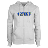ENZA Ladies White Fleece Full Zip Hoodie-CSUB