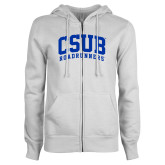ENZA Ladies White Fleece Full Zip Hoodie-Arched CSUB Roadrunners