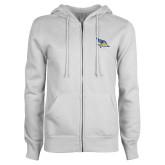 ENZA Ladies White Fleece Full Zip Hoodie-Primary Logo