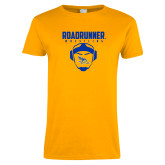 Ladies Gold T Shirt-Roadrunner Wrestling w/ Headgear