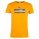 Ladies Gold T Shirt-CSUB Wrestling Stencil