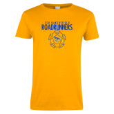 Ladies Gold T Shirt-Roadrunners Soccer Outlines