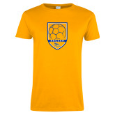 Ladies Gold T Shirt-Soccer Shield