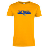 Ladies Gold T Shirt-CSU Bakersfield Softball Stencil