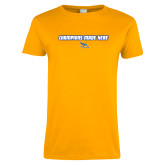 Ladies Gold T Shirt-Champions Made Here Flat