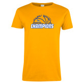 Ladies Gold T Shirt-2017 Western Athletic Conference Champions - Mens Basketball Half Ball