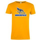 Ladies Gold T Shirt-Roadrunner Head Bakersfield