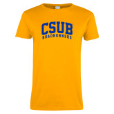 Ladies Gold T Shirt-Arched CSUB Roadrunners