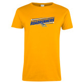 Ladies Gold T Shirt-Slanted Roadrunners Stencil w/ Logo