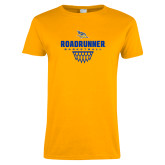 Ladies Gold T Shirt-Roadrunner Basketball Net Icon