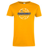 Ladies Gold T Shirt-Roadrunner Basketball Lined Ball