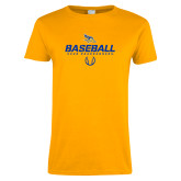 Ladies Gold T Shirt-Baseball Stencil w/ Ball