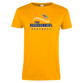 Ladies Gold T Shirt-CSUB Roadrunners Baseball Seam
