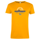 Ladies Gold T Shirt-CSUB Roadrunners Volleyball Stacked