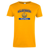 Ladies Gold T Shirt-CSU Bakersfield Roadrunners Arched Volleyball