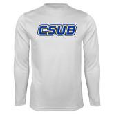 Performance White Longsleeve Shirt-CSUB
