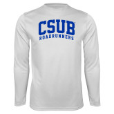Performance White Longsleeve Shirt-Arched CSUB Roadrunners