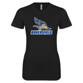 Next Level Ladies SoftStyle Junior Fitted Black Tee-Roadrunner Head Bakersfield