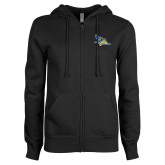ENZA Ladies Black Fleece Full Zip Hoodie-Primary Logo