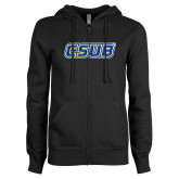 ENZA Ladies Black Fleece Full Zip Hoodie-CSUB