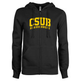ENZA Ladies Black Fleece Full Zip Hoodie-Arched CSUB Roadrunners