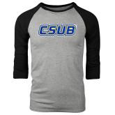 Grey/Black Tri Blend Baseball Raglan-CSUB
