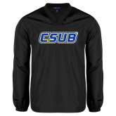 V Neck Black Raglan Windshirt-CSUB
