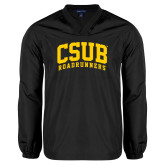 V Neck Black Raglan Windshirt-Arched CSUB Roadrunners