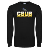 Black Long Sleeve TShirt-CSUB Splatter Texture