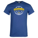 Royal Blue T Shirt-Roadrunner Basketball Arched w/ Ball