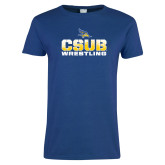 Ladies Royal T Shirt-CSUB Wrestling Stencil