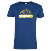 Ladies Royal T Shirt-2017 Western Athletic Conference Champions - Mens Basketball Half Ball