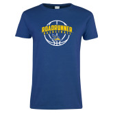 Ladies Royal T Shirt-Roadrunner Basketball Arched w/ Ball