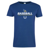 Ladies Royal T Shirt-Baseball Stencil w/ Ball