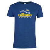 Ladies Royal T Shirt-CSUB Roadrunners Baseball Seam