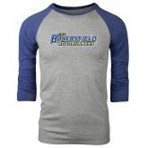 Grey/Royal Heather Tri Blend Baseball Raglan-CSU Bakersfield Roadrunners