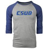 Grey/Royal Heather Tri Blend Baseball Raglan-CSUB