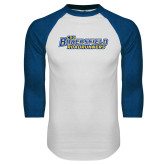 White/Royal Raglan Baseball T Shirt-CSU Bakersfield Roadrunners