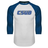 White/Royal Raglan Baseball T Shirt-CSUB