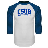 White/Royal Raglan Baseball T Shirt-Arched CSUB Roadrunners